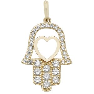 9ct Yellow Gold Cubic Zirconia Hamsa Pendant