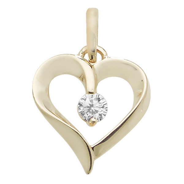 Ornate Gold Heart Pendant with centre Cubic Zirconia
