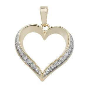 Ornate Gold Heart with Cubic Zirconia Detailing Pendant