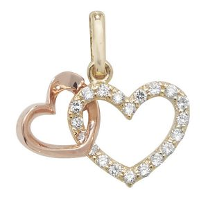 Intertwined Hearts Pendant in 9ct Gold