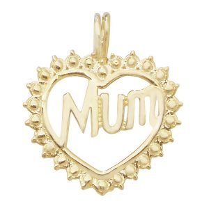 Ornate Heart Shaped MUM Pendant in 9ct Yellow Gold
