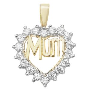 Ornate Heart Shaped MUM Pendant Set with Cubic Zirconia in 9ct Yellow Gold