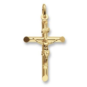 9ct Gold Tubular Style Crucifix Cross Pendant