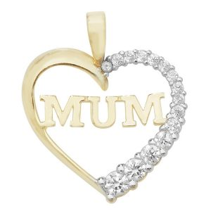 Heart Shaped MUM Pendant Set with Cubic Zirconia in 9ct Yellow Gold