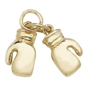 Boxing Gloves Charm or Pendant in Yellow Gold