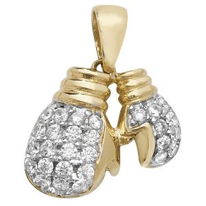 Boxing Gloves Charm or Pendant set with Cubic Zirconia in Yellow Gold