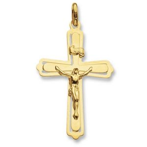 Ornate Flat Crucifix Cross Pendant in 9ct Yellow Gold