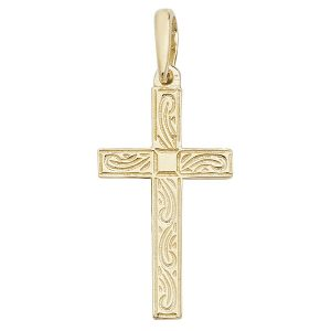Engraved Design Flat Cross Pendant in Yellow Gold