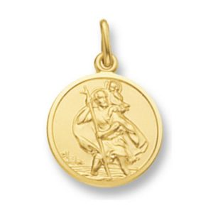 Round St Christopher in Yellow Gold