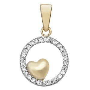 Round Cubic Zirconia Set Pendant with Heart inlay in Yellow Gold