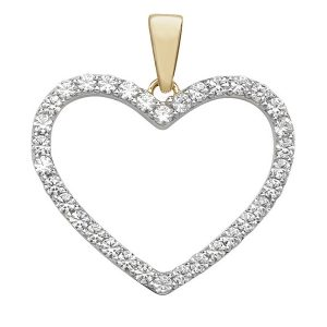 Heart Cubic Zirconia Pendant in Yellow Gold