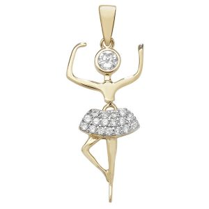 Ballerina Charm or Pendant set with Cubic Zirconia in Yellow Gold