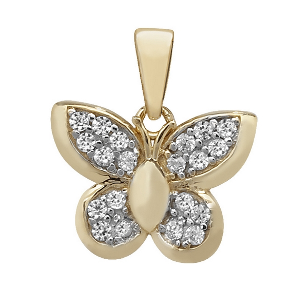 Butterfly Charm or Pendant set with Cubic Zirconia in Yellow Gold