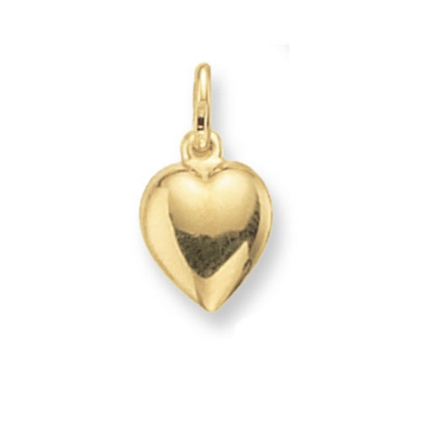 Medium Plain Heart Pendant in Yellow Gold