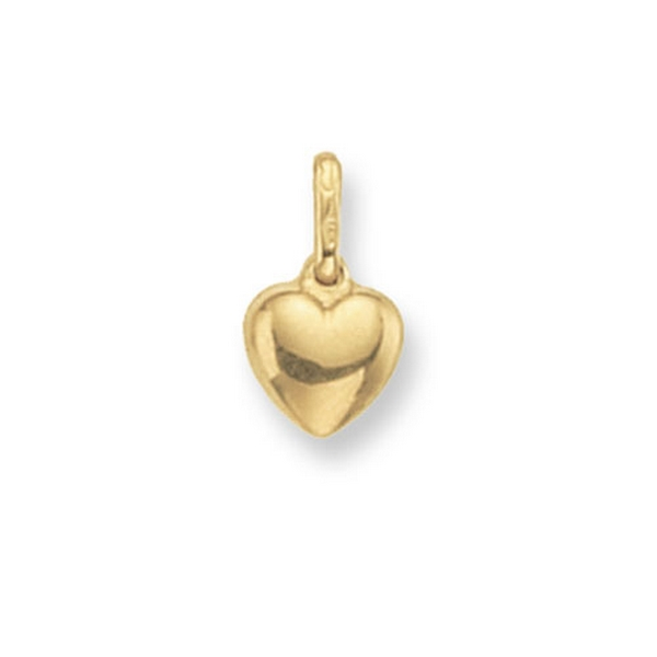 Small Plain Heart Pendant in Yellow Gold