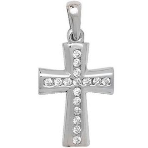 Cross Pendant set with Cubic Zirconia in White Gold