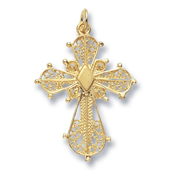 9ct Yellow Gold Decorative Patterned Cross Pendant