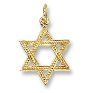 Decorated Star of David Yellow Gold Pendant