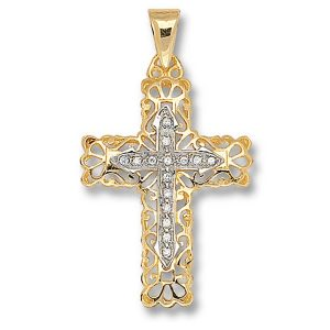 Cubic Zirconia Decorated Fancy Cross Pendant in Yellow Gold