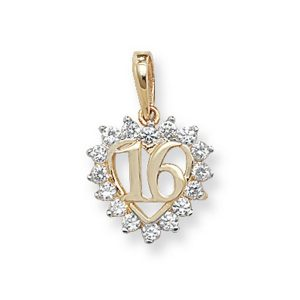 Cubic Zirconia Decorated 16 Pendant in Yellow Gold