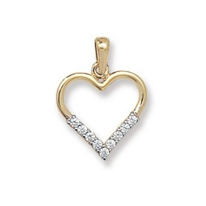 Open Heart Pendant in Yellow Gold