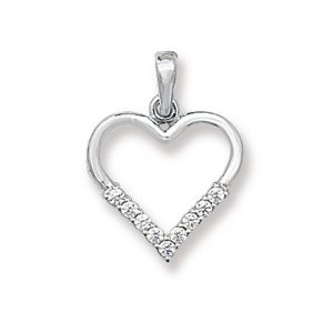 Open Heart Pendant in White Gold