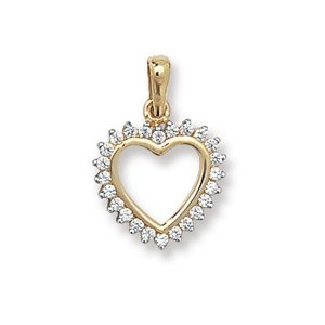 Fancy Open Heart Pendant in Yellow Gold