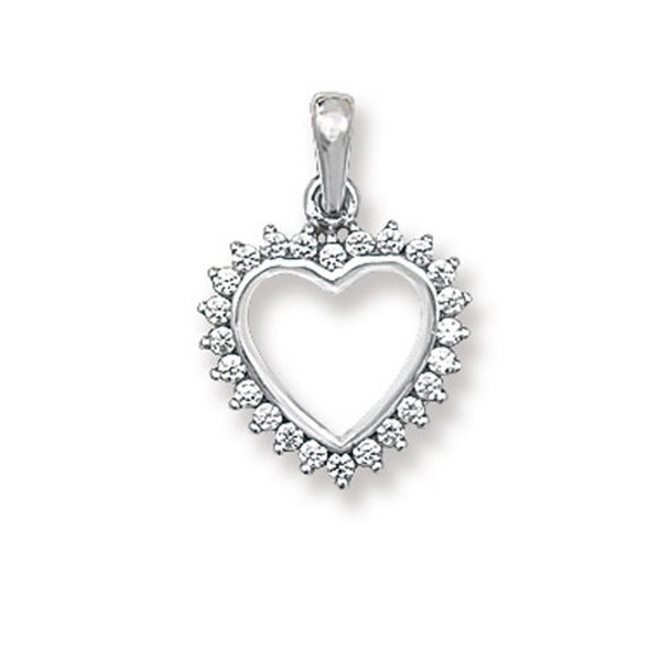 Fancy Open Heart Pendant in White Gold