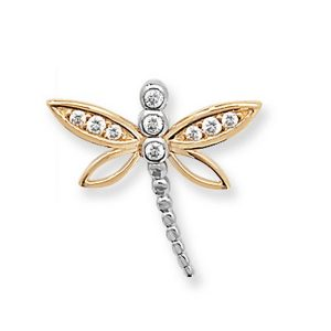 Dragonfly Pendant set with Cubic Zirconia in Yellow Gold