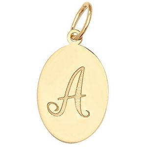 Initial A Gold Oval Pendant