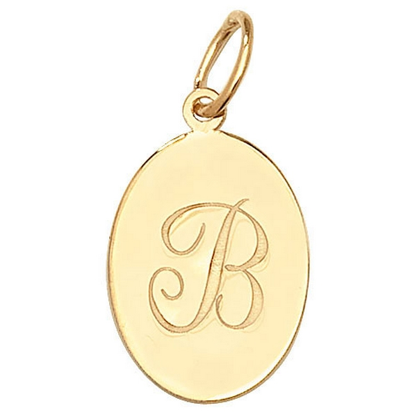 Initial B Gold Oval Pendant