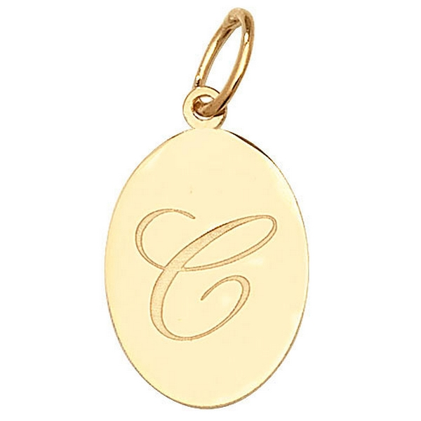 Initial C Gold Oval Pendant