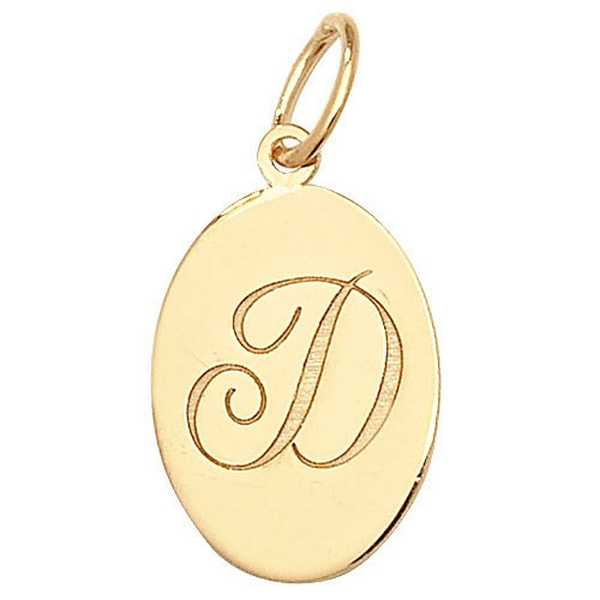 Initial D Gold Oval Pendant