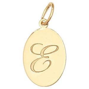 Initial E Gold Oval Pendant