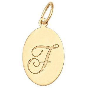 Initial F Gold Oval Pendant