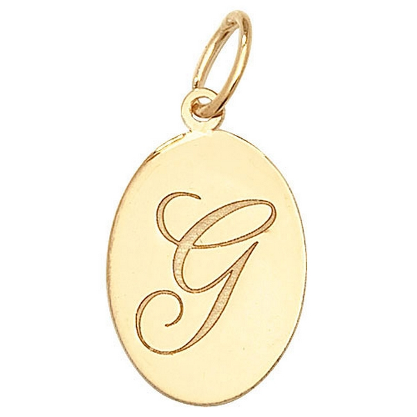 Initial G Gold Oval Pendant