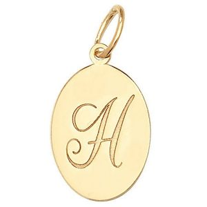 Initial H Gold Oval Pendant