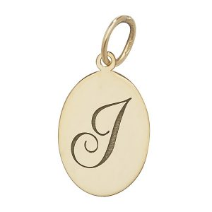 Initial J Gold Oval Pendant
