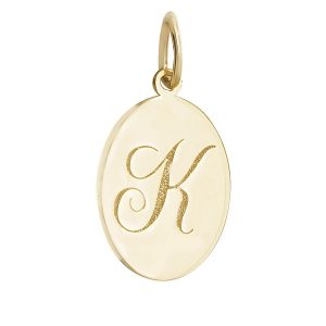 Initial K Gold Oval Pendant