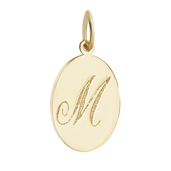 Initial M Gold Oval Pendant