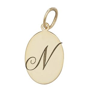 Initial N Gold Oval Pendant