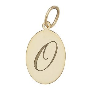 Initial O Gold Oval Pendant