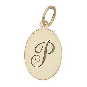 Initial P Gold Oval Pendant
