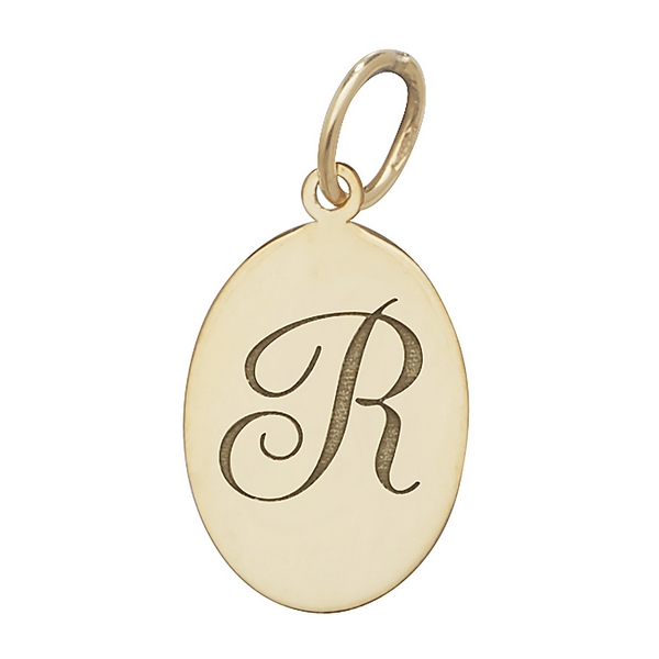 Initial R Gold Oval Pendant