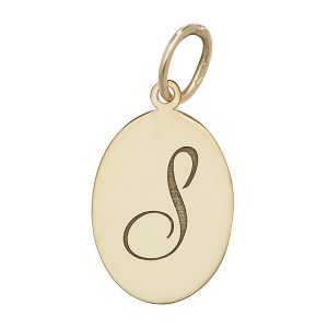 Initial S Gold Oval Pendant