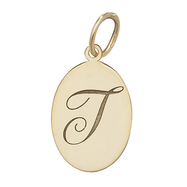 Initial T Gold Oval Pendant