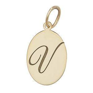 Initial V Gold Oval Pendant