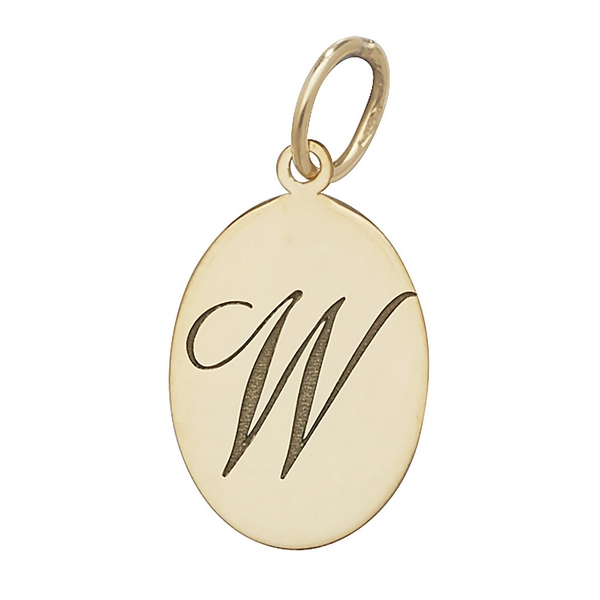 Initial W Gold Oval Pendant
