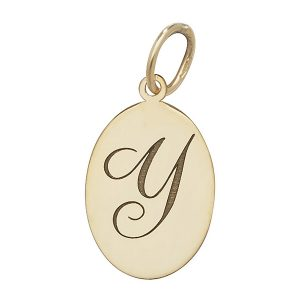 Initial Y Gold Oval Pendant