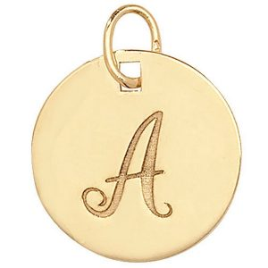 Initial A Gold Round Pendant